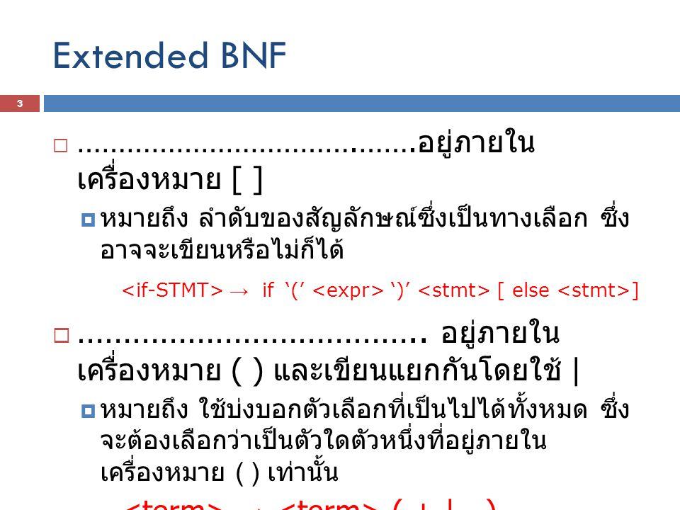 Extended BNF …………………………….…….อยู่ภายในเครื่องหมาย [ ] หมายถึง ลำดับของสัญลักษณ์ซึ่งเป็นทางเลือก ซึ่งอาจจะเขียนหรือไม่ก็ได้